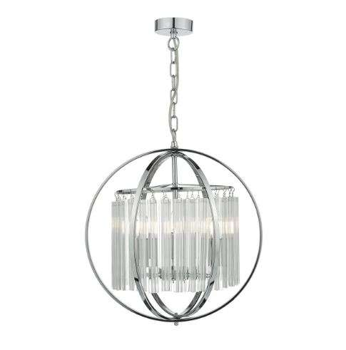 Abdul 3 Light Pendant Polished Chrome/ Crystal