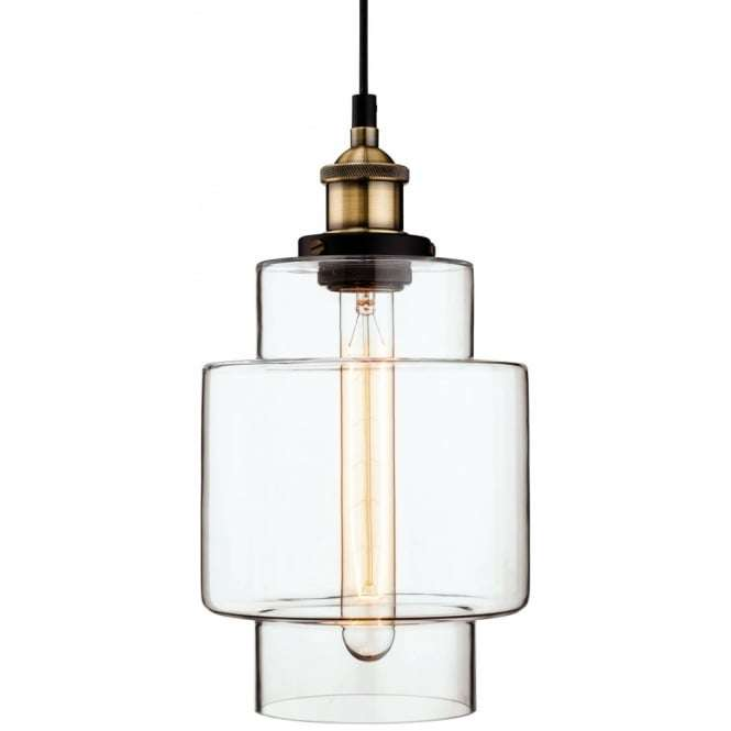 Firstlight 3475ab Antique Quirky Clear Glass Jar Ceiling