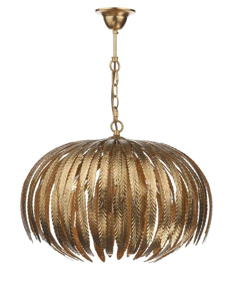 Atticus 5-Light Gold Leaf Patterned Pendant