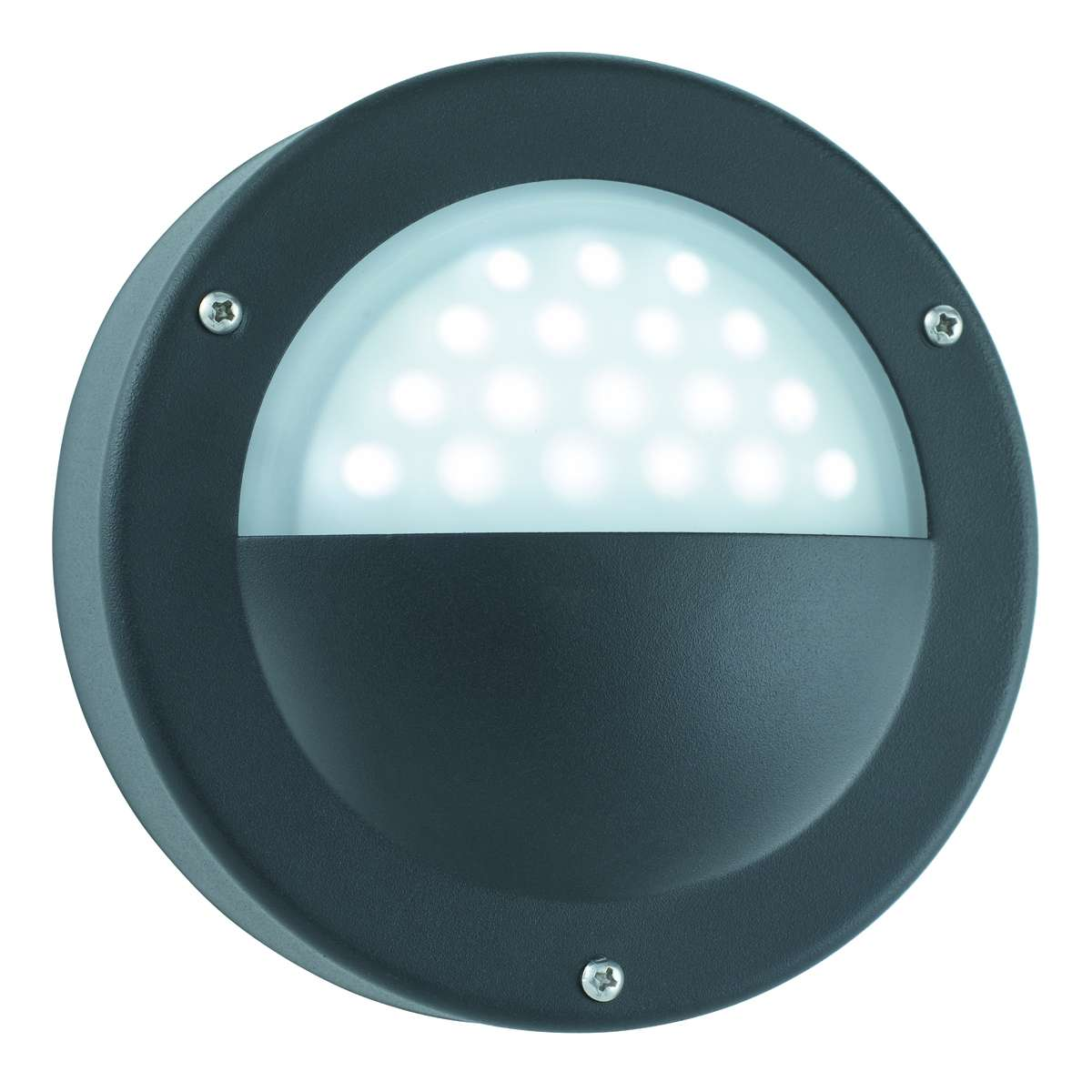Black Ip44 18 Led Circular Outdoor Wall Light With Acid Glass jrlighting.co.uk