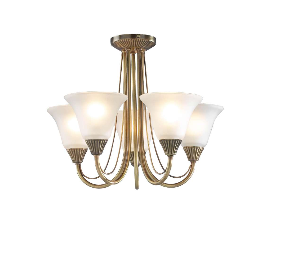 Dar Lighting Bos05 Boston 5 Light Antique Brass Semi Flush Fitting Jr Lighting