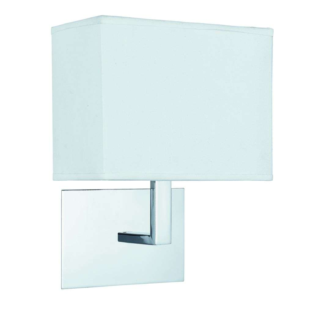 Rectangular Lamp Shades For Wall Lights : Searchlight 5519cc Chrome Wall Light with White Rectangular Fabric Shade jrlighting.co.uk