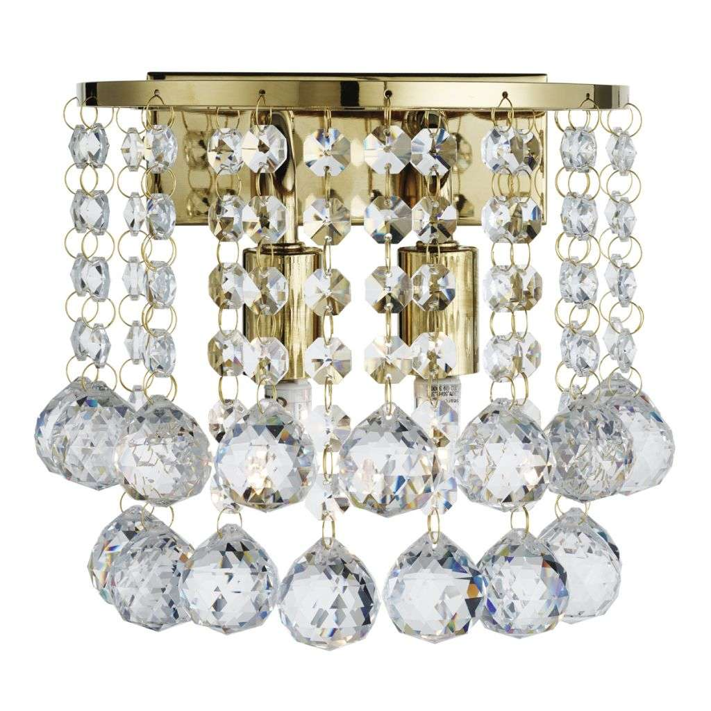 Searchlight 2402-2GO Hanna Gold 2 Light Round Wall Light - Clear Crystal Ball jrlighting.co.uk