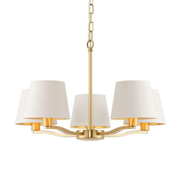 Harvey 5 Light Pendant in Satin Gold Finish