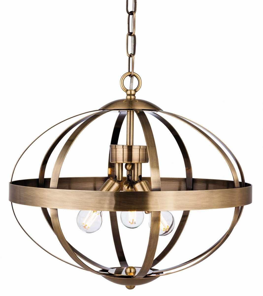 Healey 3 Light Pendant in Antique Brass Finish