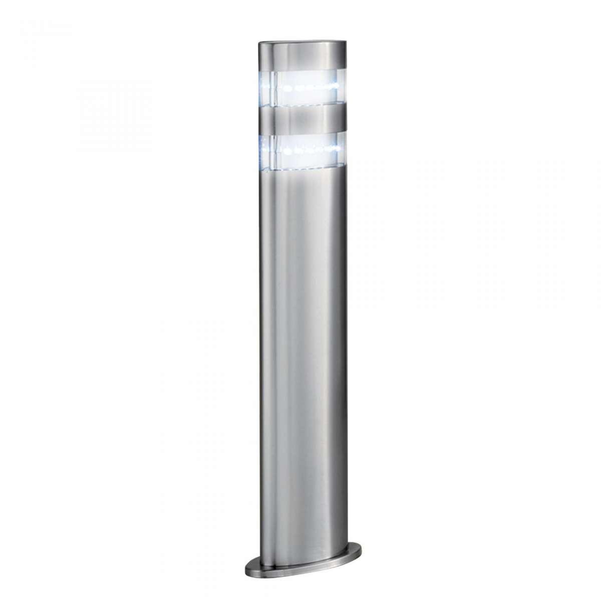 India LED Outdoor Oval Bollard 450mm Satin Silver