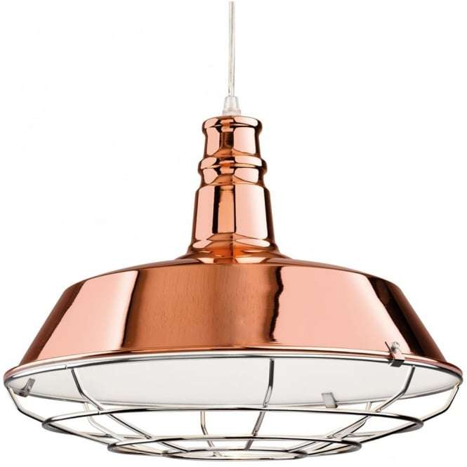 Industrial Quirky Copper Open Grill Ceiling Pendant