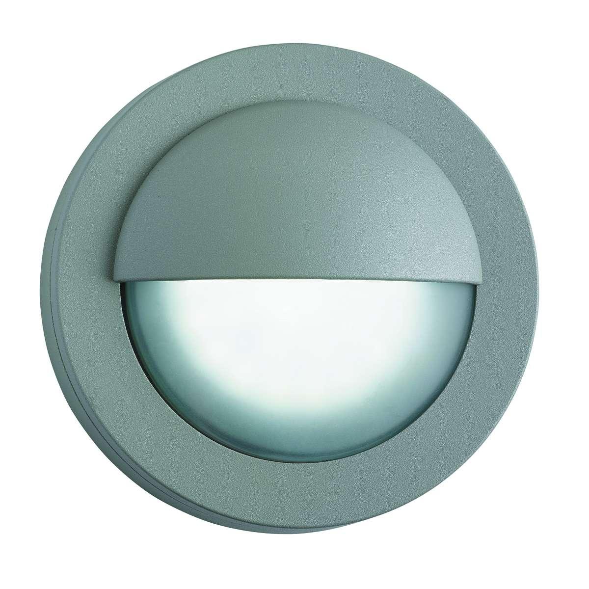 Ip44 Grey 18 Led Outdoor Wall Light With Acid Glass jrlighting.co.uk