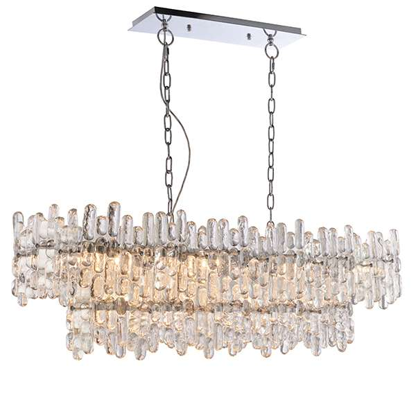 Maya 12 Light Pendant in Chrome with Clear Glass