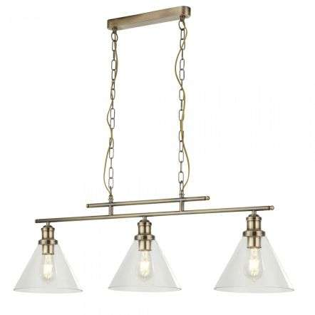 1277-3AB Pyramid 3 Light Pendant Antique Brass Clear Glass Shades