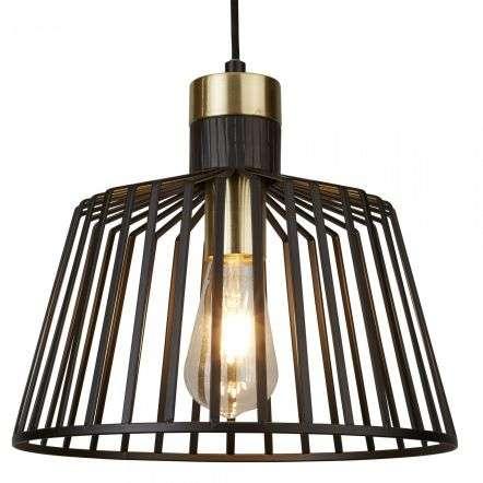 1 Light Cage Frame Pendant, Black and Gold