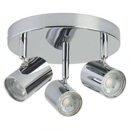3173CC Rollo 12W LED 3 Light Cylinder Head Chrome Spot Plate