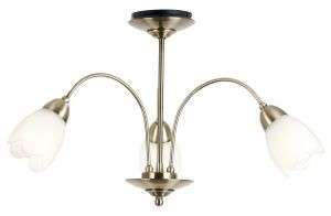 3-Light Antique Brass Semi-Flush Fitting