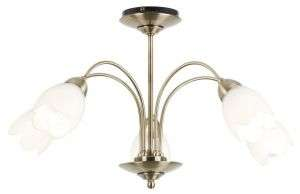 5-Light Antique Brass Semi-Flush Fitting