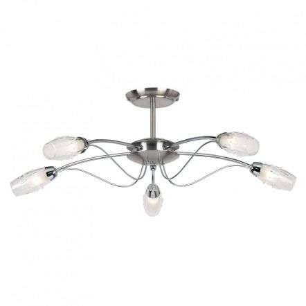 5-Light Satin Chrome Semi-Flush Fitting