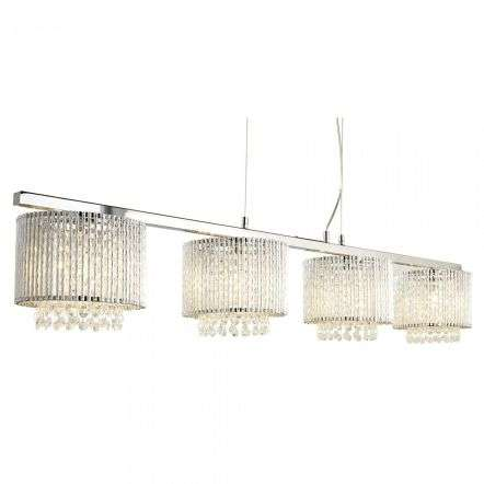 7094-4CC Elise 4 Light Ceiling Bar With Crystal Drops