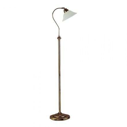 9122AB  Adjustable Floor LampAntique Brass With Scavo Glass