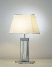 Quartz glass table lamp complete with shade