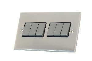 Selectric 6Gang 2 Way Satin Chrome Slimline Switch