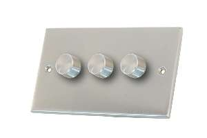 Selectric 3 Gang 2 Way Satin Chrome Slimline Dimmer Switch