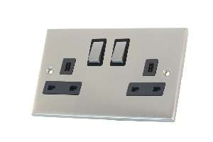 Selectric 2 Gang Satin Chrome Slimline Switched Socket