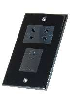 Selectric Black Chrome Slimline Shaver Socket