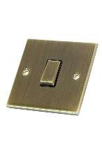 Selectric 1Gang 2 Way Antique Brass Slimline Switch