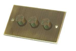 Selectric 3 Gang 2 Way Antique Brass Slimline Dimmer Switch