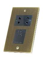 Selectric Antique Brass Slimline Shaver Socket
