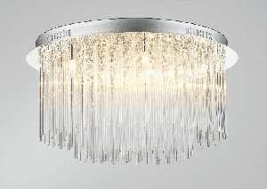 8-light chrome flush fitting with glass rod decoration