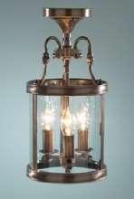3-light antique brass dual mount  glass lantern