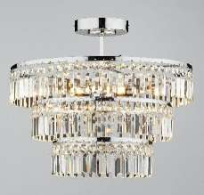 Rowena 3-light chrome semi flush crystal fitting
