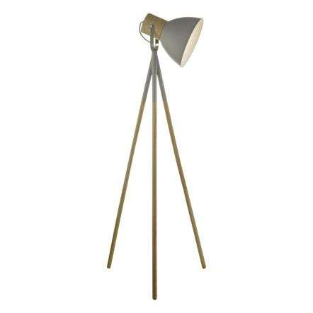 Adna Floor Lamp Grey & Wood