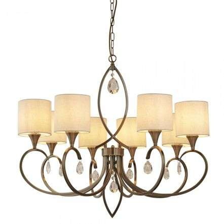 Alberto 8 Light Pendant, Antique Brass, Linen Shades