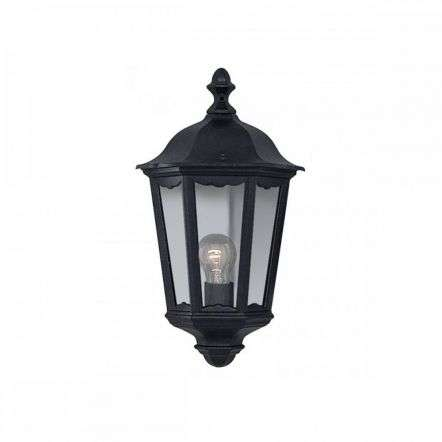 Alex Ip44 Black Half Outdoor Wall Light With Clear Glass