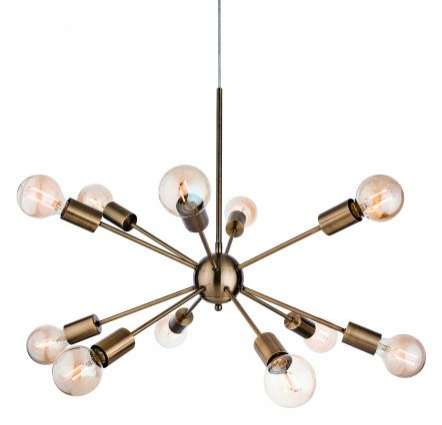 Alfa 12 Light Pendant in Antique Brass Finish