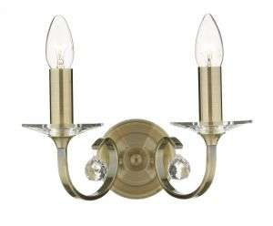 Allegra 2-Light Antique Brass Wall Bracket