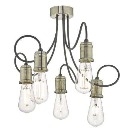 Alzbet 5 Light Semi Flush Antique Brass & Black Detail