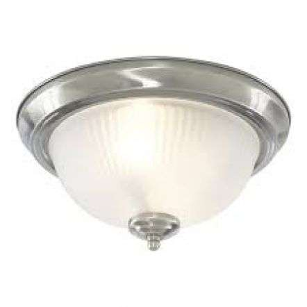 American Diner IP44 Chrome Flush Fitting with Acid Ribbed Glass