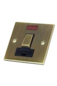 Selectric Fused Spur with Neon Antique Brass Slimline Switch