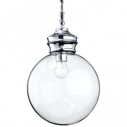 Antique Chrome Ceiling Glass Ball Pendant Light