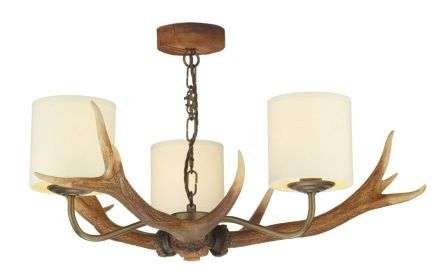 Antler 3 Light Highland Rustic Fitting