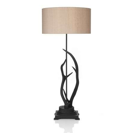 Antler Black Large Table Lamp Complete with Silk Shade