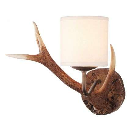 Antler White Wall Light Small Complete with Shade