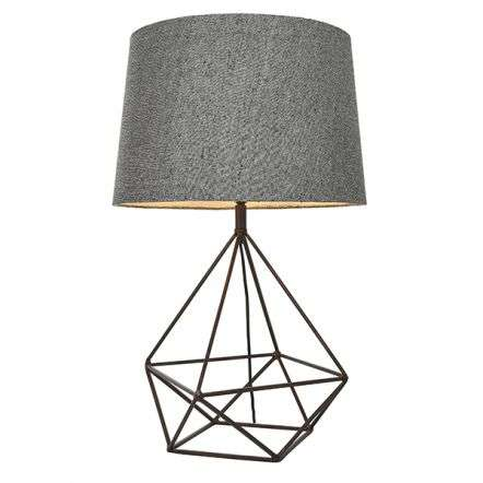 Apollo Table Lamp in Grey & Aged Copper Finish C/W Shade