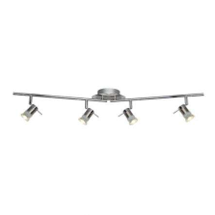 Aries IP44 Chrome & Satin Silver 4 Light Adjustable Bar Spotlight