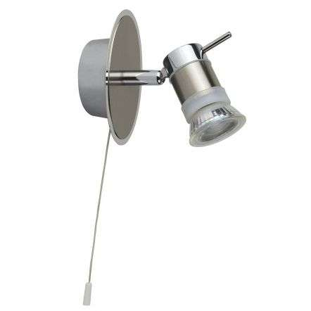 Aries IP44 Single Wall Spotlight Chrome with Satin Silver
