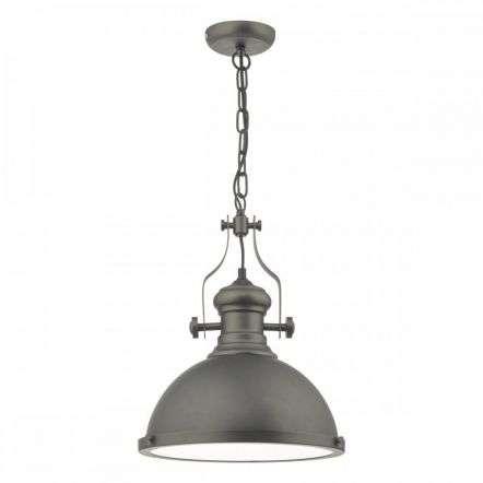 Arona 1 Light Industrial Pendant Antique Pewter & Glass