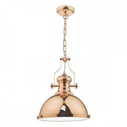 Arona 1 Light Industrial Pendant Copper & Glass