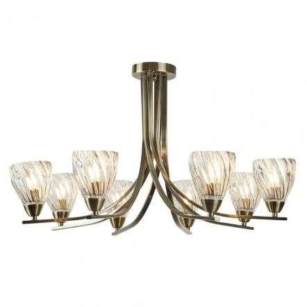 Ascona - 8 light Ceiling Semi-Flush, Antique Brass Twist Frame